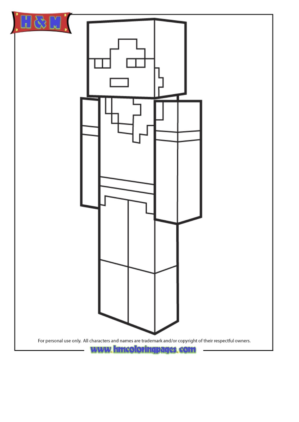 Alex From Minecraft Coloring Page Pic