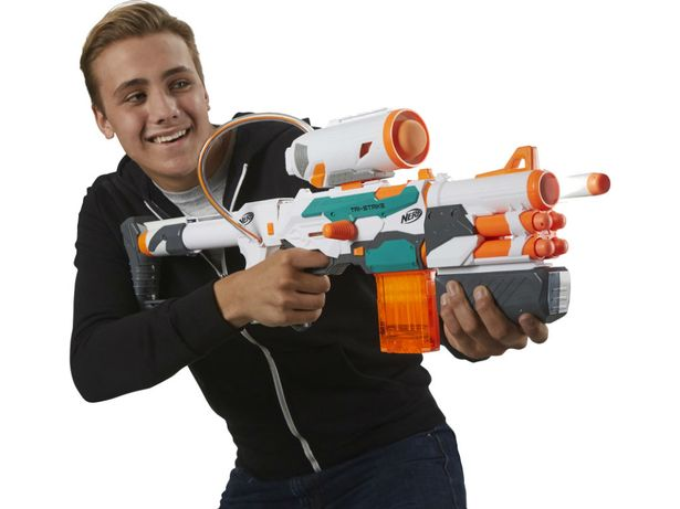 Nerf Tri-Strike - £49.99    With three different ways to blast, the Nerf Tri Strike lets kids reconfigure their blaster to suit their mood.