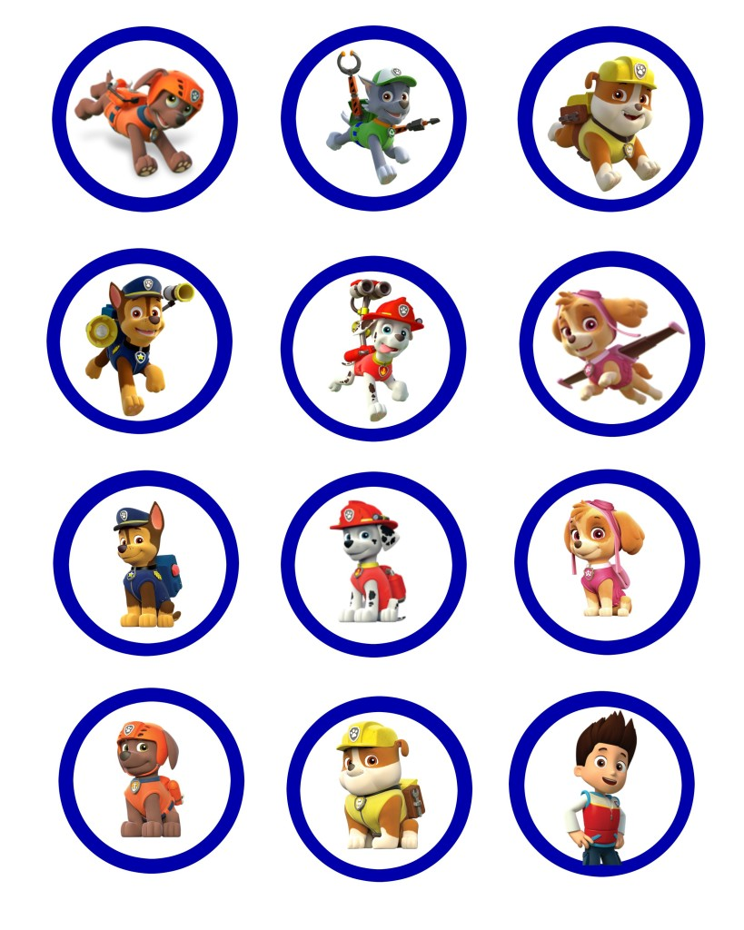 Paw Patrol Cup Cake Toppers