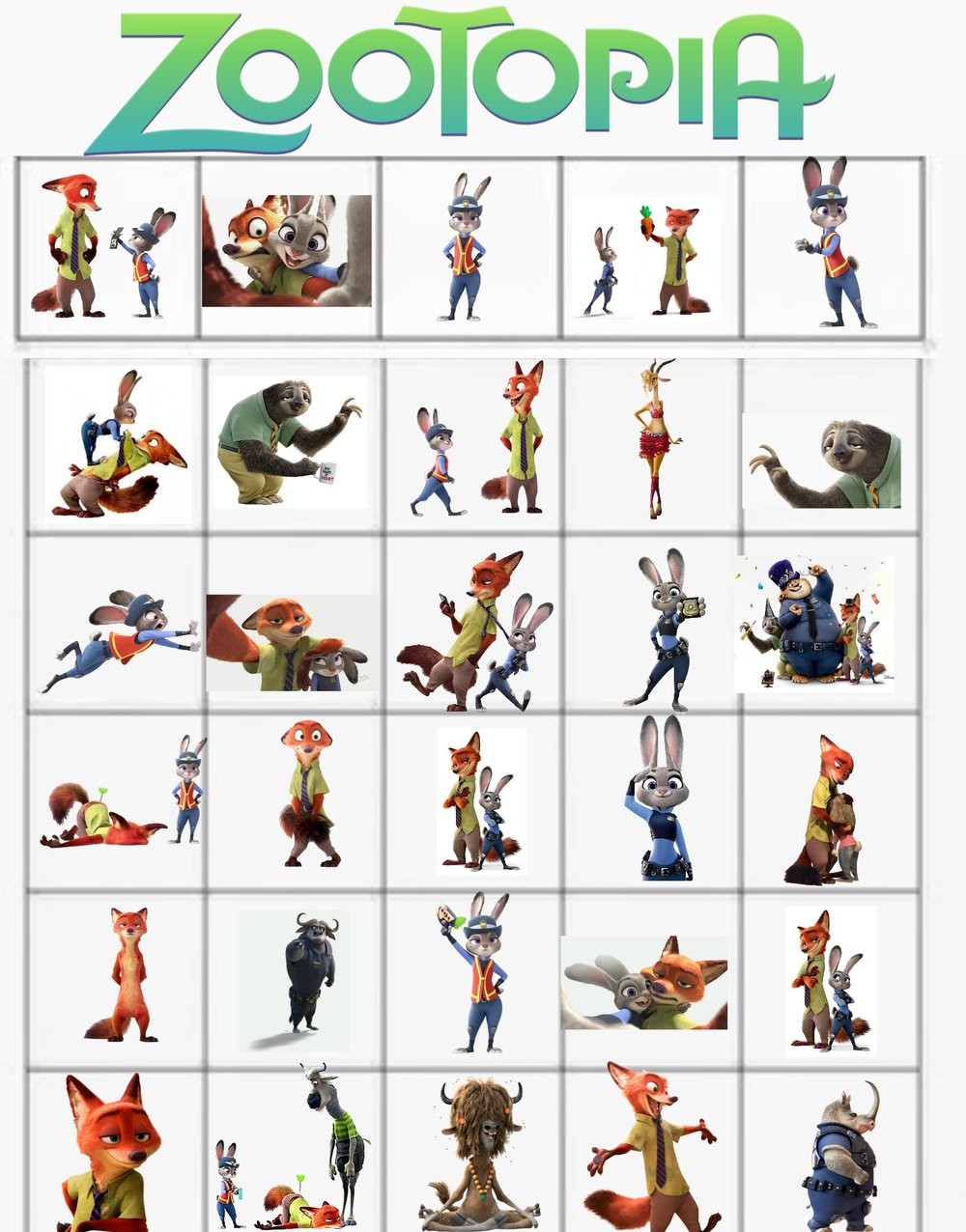 Zootopia Bingo Playing Cards Wonder Kids