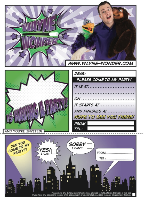 Wayne Wonder Superhero Invite