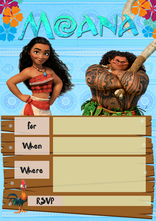 Moana Party Invite Wonder Kids