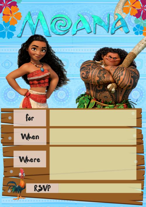 Moana Party Invite Wonder Kids
