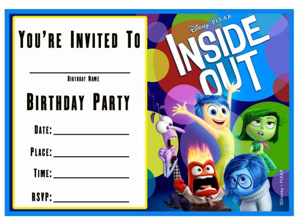 Inside Out Invites from Wonder Kids