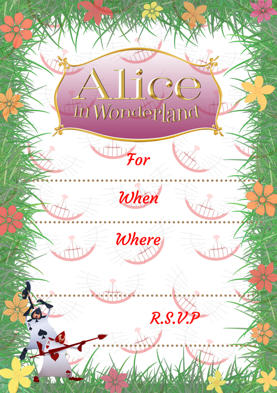 Alice In Wonderland Party Invite Wonder Kids