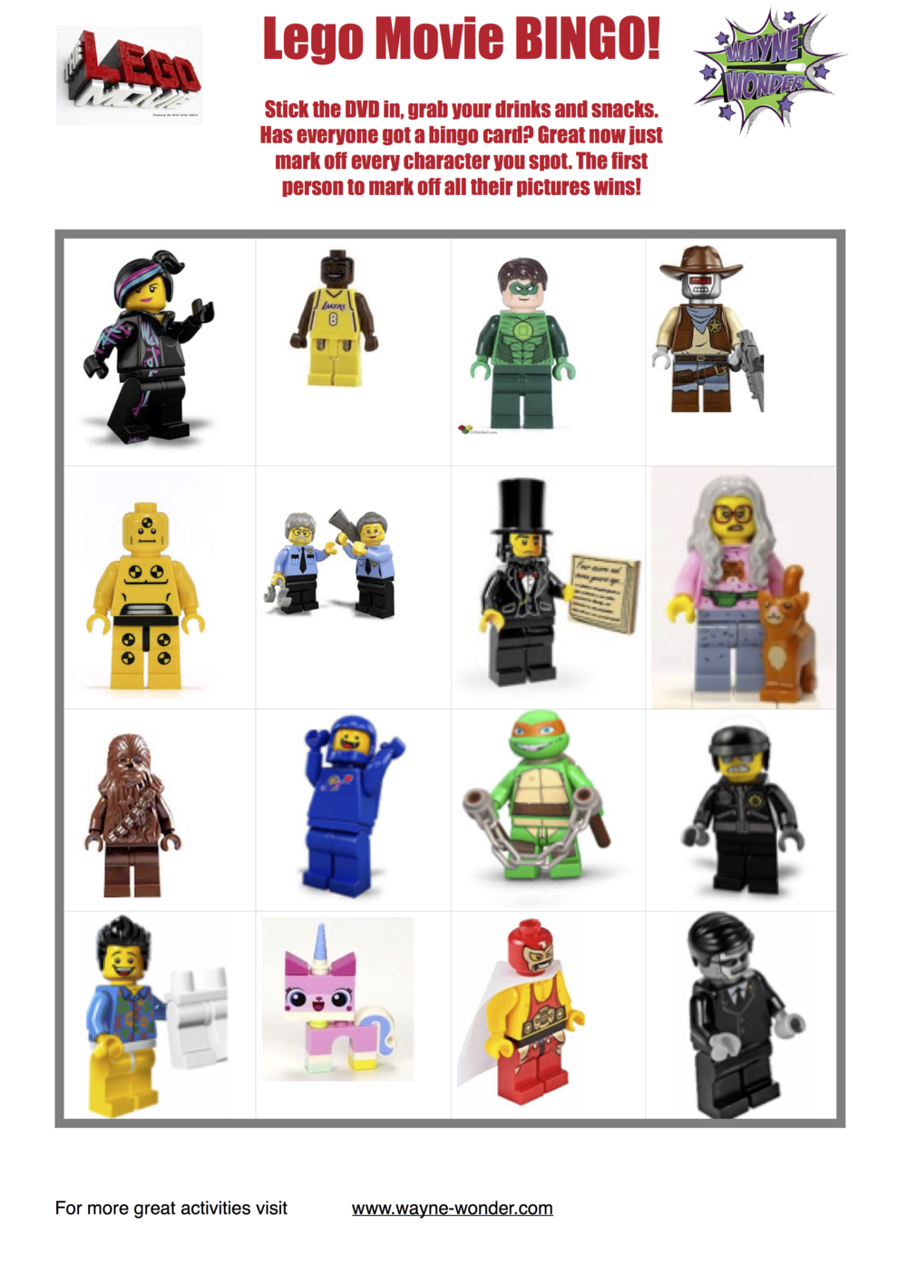 Lego movie bingo from Wonder Kids