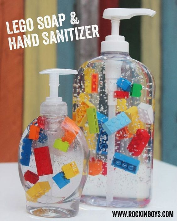 Lego Soap - I just love this idea, place small lego bricks in clear hand wash to make it more fun for kids, back to the games.