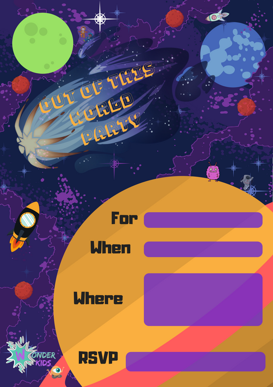 Space Party Invite from Wonder kids