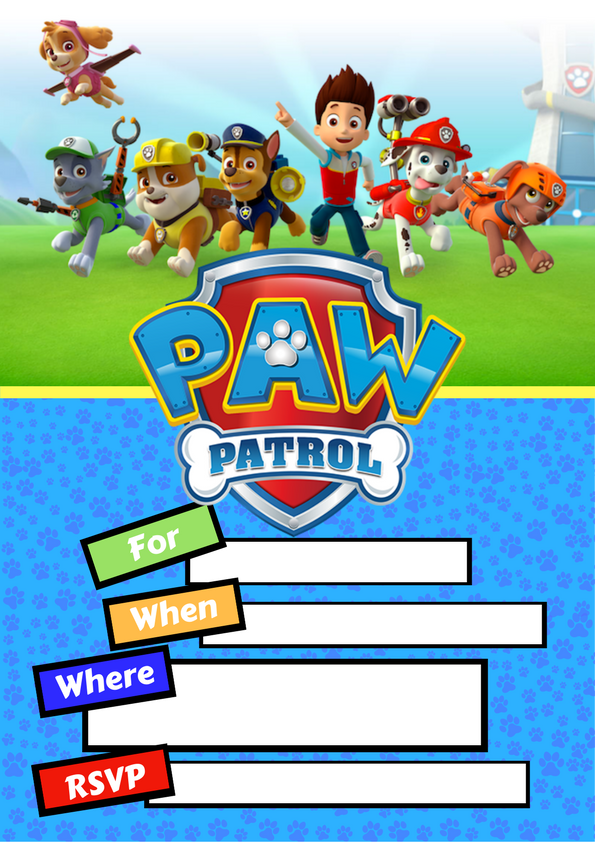 Paw Patrol party Invite