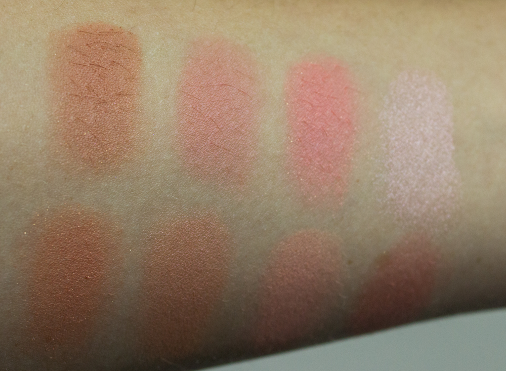 The colors does not have individual names, so the swatches are according to blush placement in the palette.