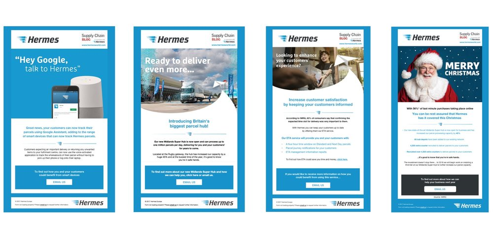 I helped the Hermes UK Marketing team build a template for their monthly emails, I also helped to plan content, strategies and visuals from July 2017 - 18.
