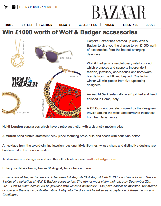 Harper's BAZAAR Competition - click here for a chance to win a CFconcept piece