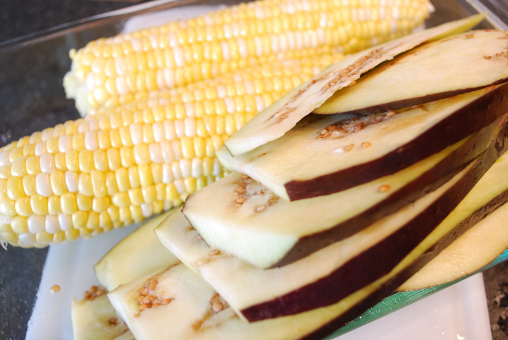 3. grill corn and eggplant until tender and let cool to room temperature
