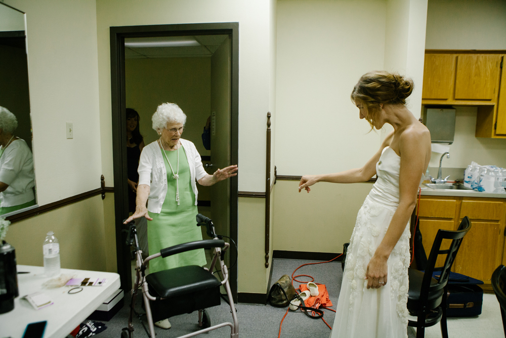 Leslie's grandmother hand stitched her beautiful wedding dress. This is when she saw the bride for the first time.
