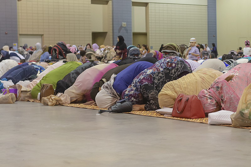 Celebrating End of Ramadan 2018   The month of Ramadan ended on June 14 in the Gregorian calendar, and June 15 marked the Islamic celebration Eid al-Fitr of successful fasting as well as completion of other requirements during the month of Ramadan. By 9 a.m. or earlier on Sawwal 1, area Muslims began arriving at the Greater Richmond Convention Center to pray and to hear the  khutbah  being brought by Iman Ammar Amonette (of the Islamic Center of Virginia) ,  the women entering through one door and the men through another. The mood was one of happiness and excitement combined with gratitude to Allah as women greeted women and men greeted men before the participants gradually settled in to worship.