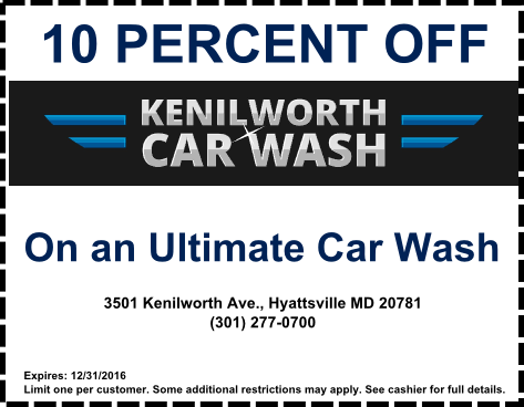 10 percent off car wash