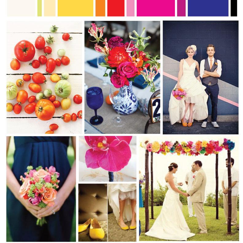 Navy Fuschia Yellow Wedding board