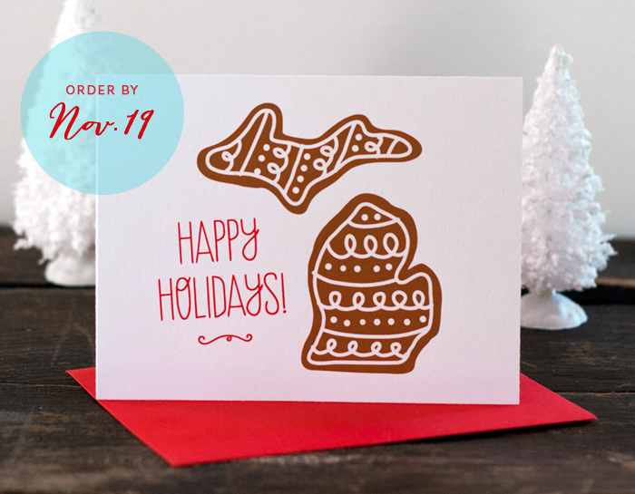 Happy Holidays Michigan Cookie Card by Sibling Design