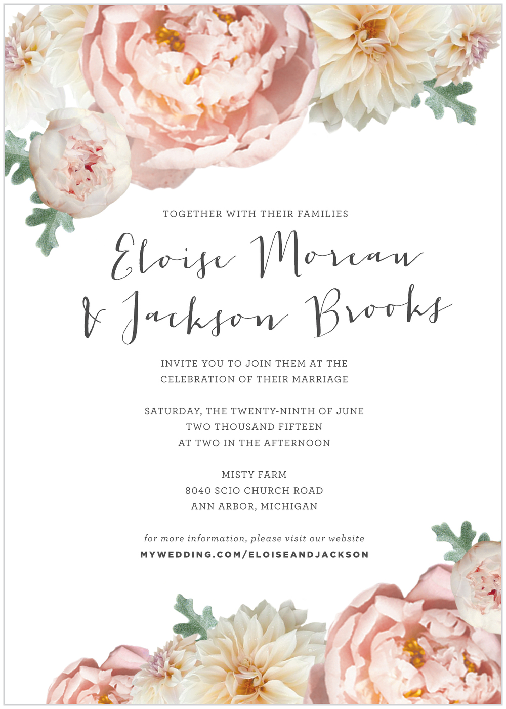 Invitation Blush Peony Alisa Bobzien Design Stationery
