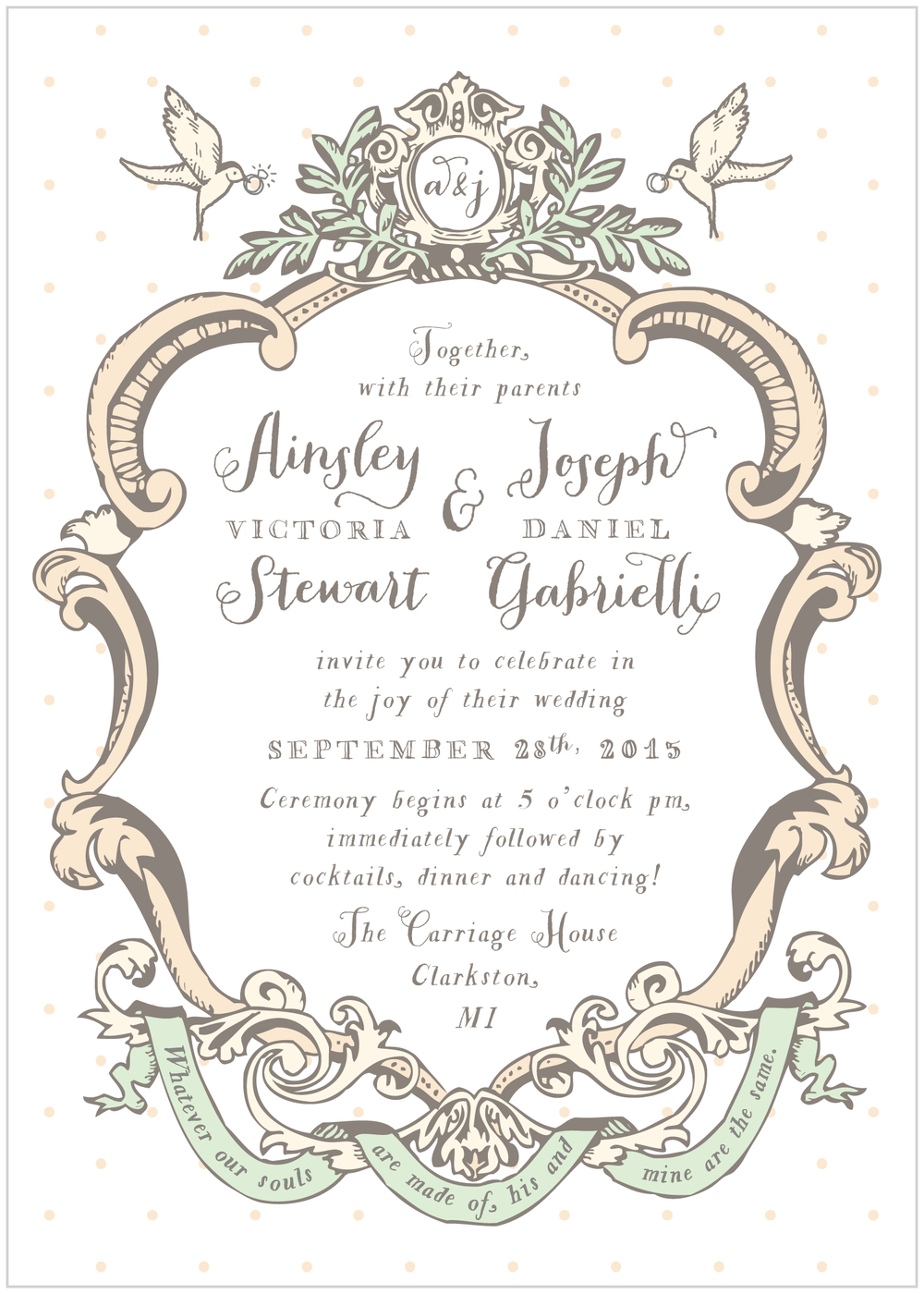 french vintage shabby chic wedding invitations Alisa Bobzien Wedding