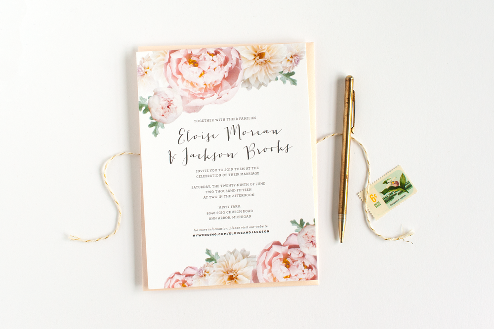 Peony Wedding Invitations with luxury invitation design