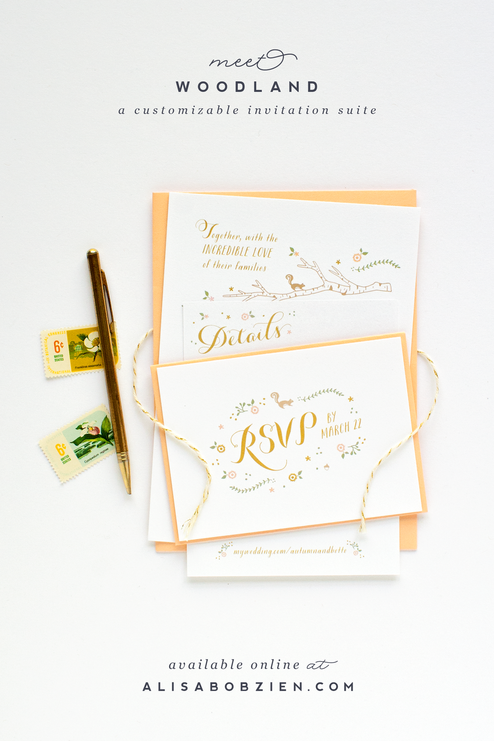 Woodland_peach_birch_wedding_invitations