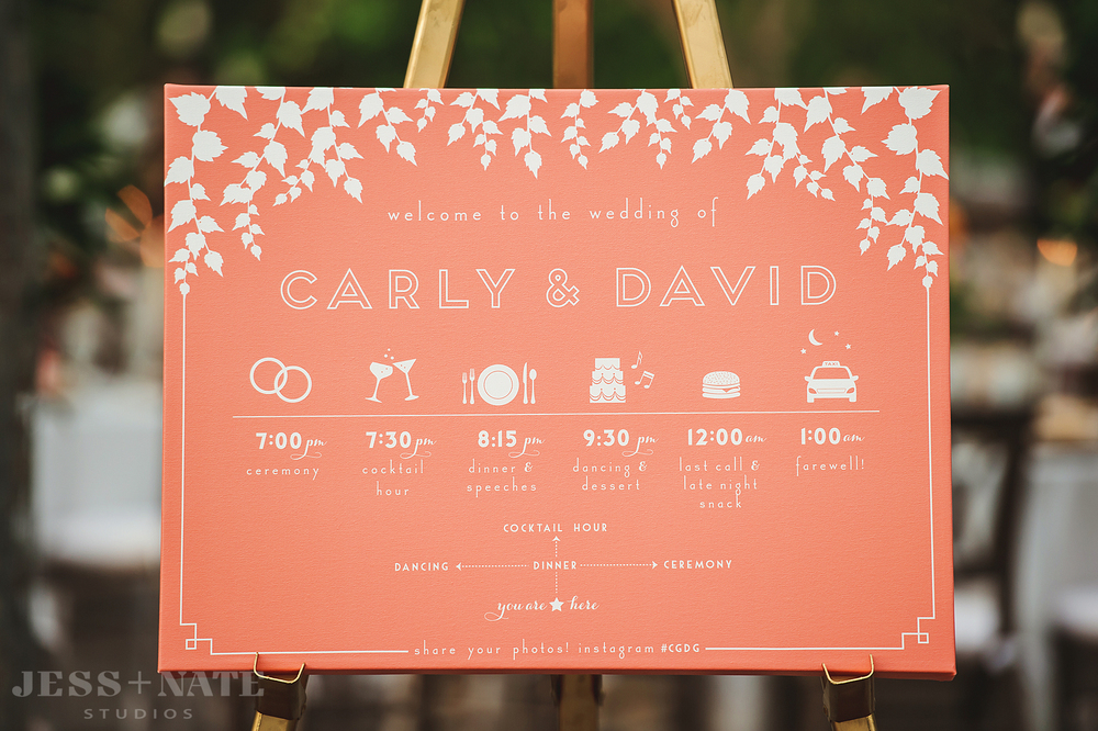 coral_wedding_welcome_sign_schedule