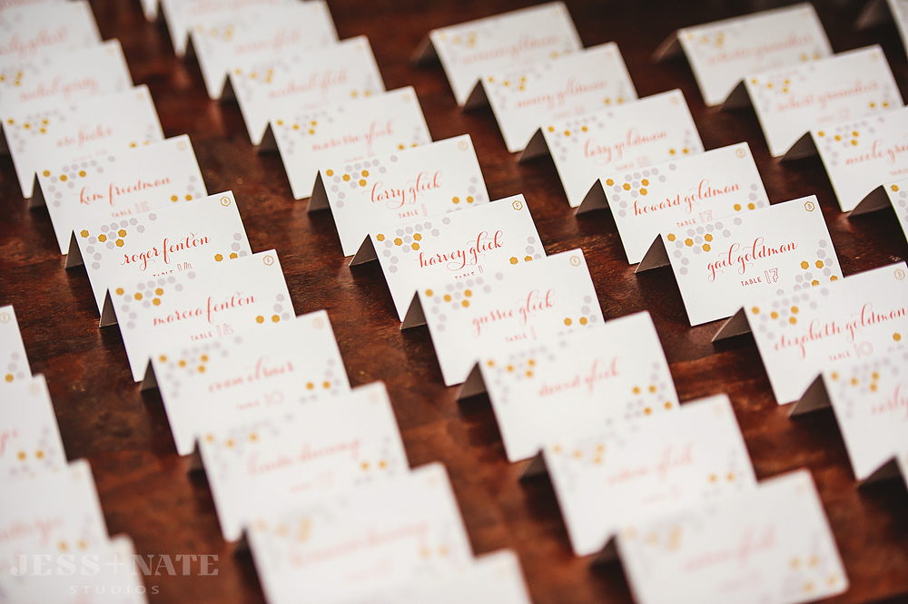 escort_cards_place_wedding_honeycomb_coral
