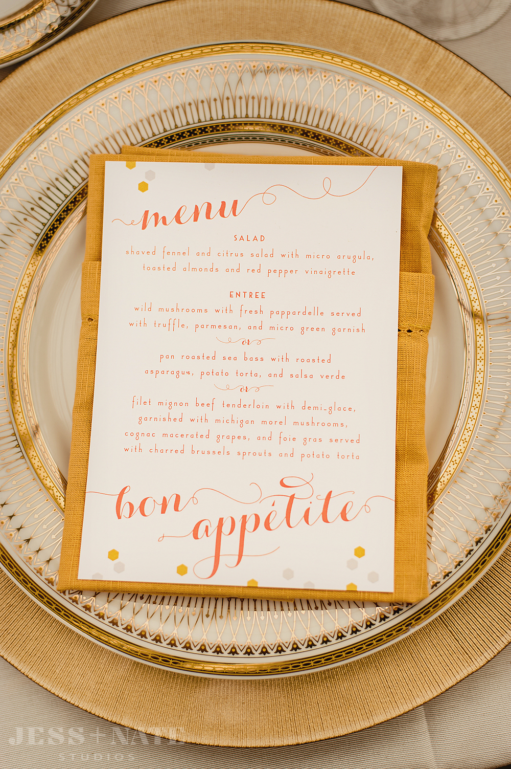 coral_gold_honeycomb_wedding_menu