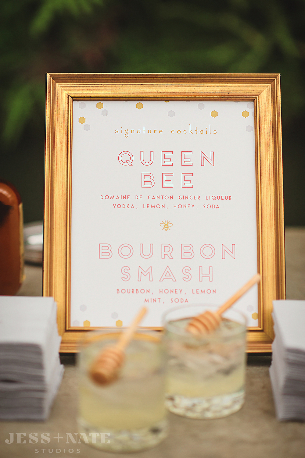 wedding_cocktail_bar_sign_gold_coral_honeycomb