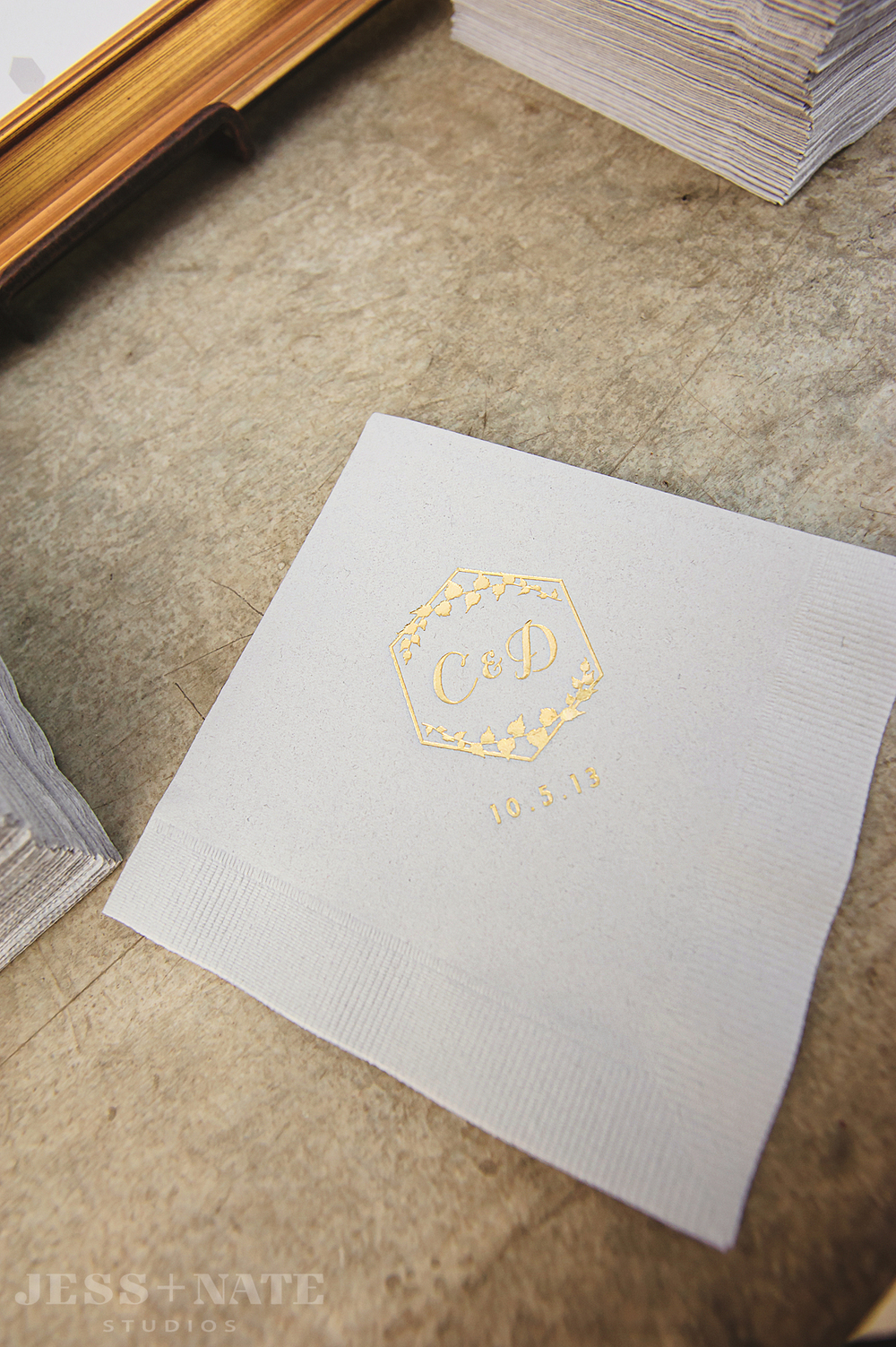 gold_foil_monogram_gray_napkins