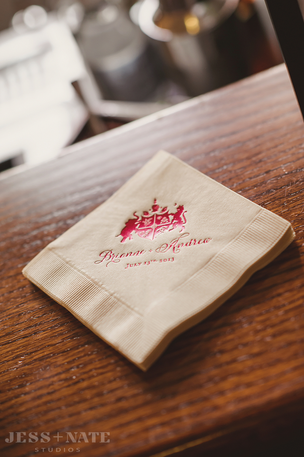 family_crest_wedding_cocktail_napkin