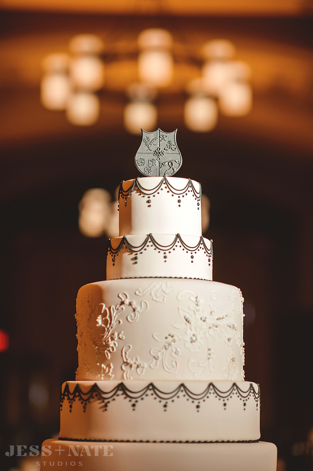 black_white_wedding_cake_topper_family_crest_coat_of_arms_shield
