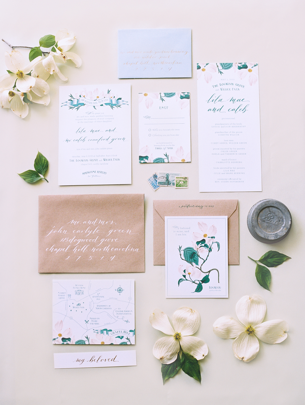 Dogwood Vintage Botanical Wedding Invitations
