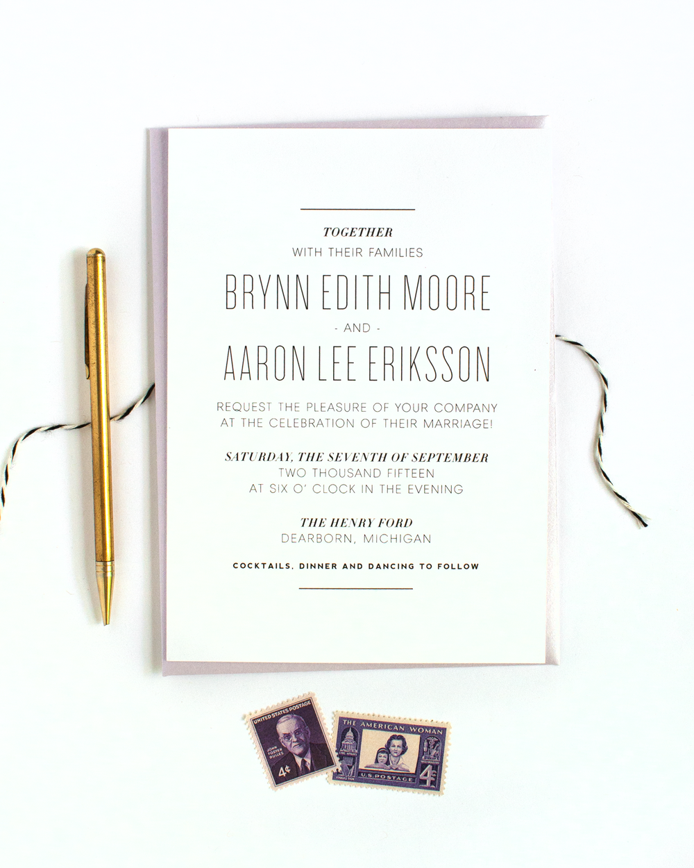 Minimal Masculine Black And White Wedding Invitations
