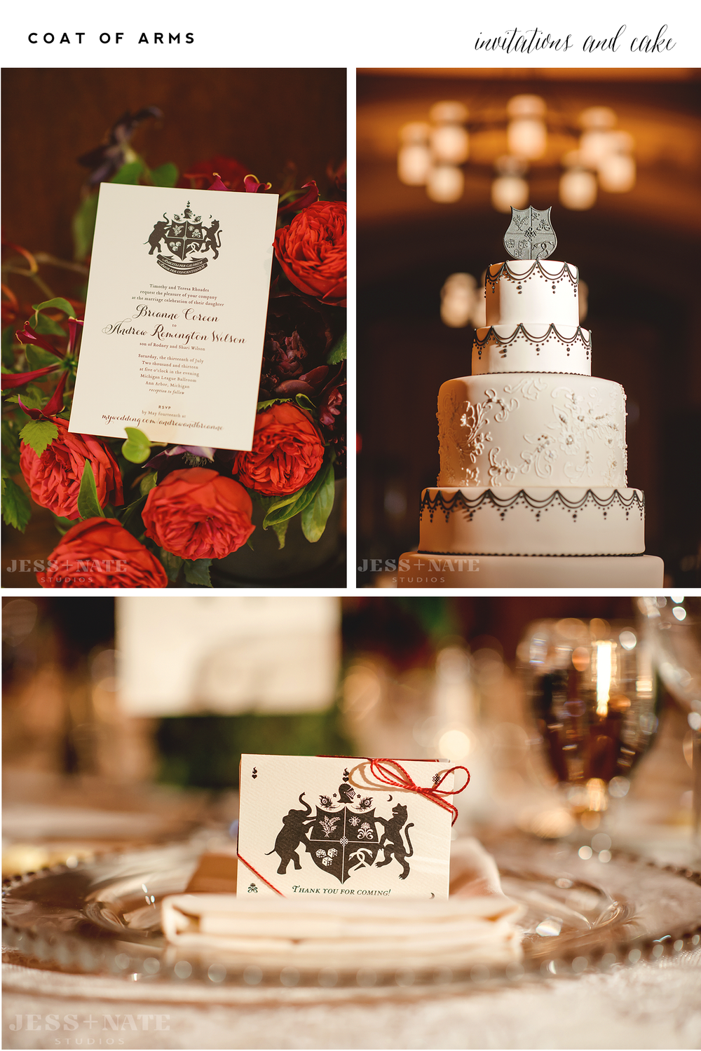 Alisa Bobzien . stationery |  Jess + Nate Studios , photography |  Sweet Heather Anne , cake |  VLD  Events, event design |  Passionflower , floral   Customizable Coat of Arms invitations are available online  here .