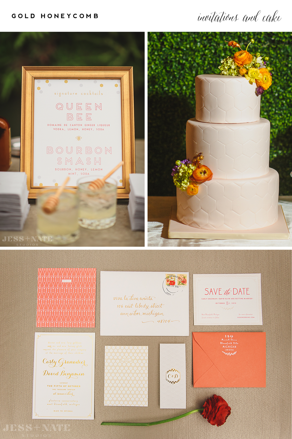 Alisa Bobzien  . stationery |   Jess + Nate Studios  , photography |   Sweet Heather Anne  , cake |   VLD   Events, event design | Planterra,  floral    Customizable Grand Fete invitations are  available online here.