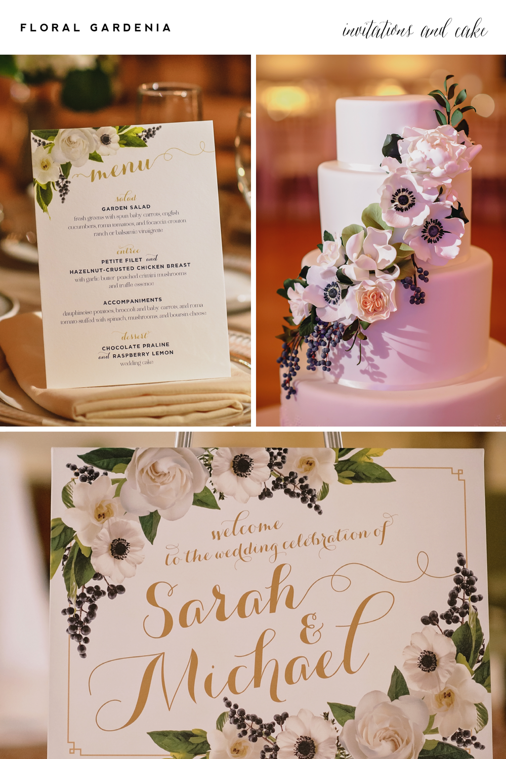 Alisa Bobzien  . stationery |   Jess + Nate Studios  , photography |   Sweet Heather Anne  , cake |   VLD   Events, event design |  Passionflower , floral   This is custom design day-of print material, which I also offer.  More details here.