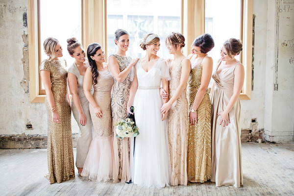 Gold Blush Neutral Wedding Bridesmaids