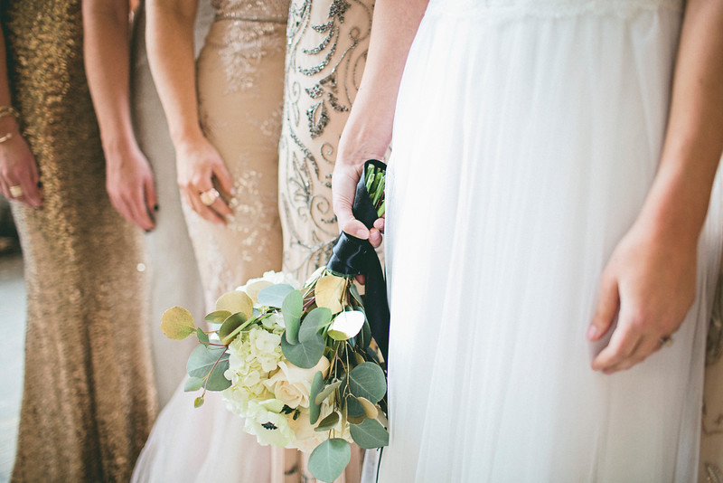 Neutral Gold Metallic Wedding Bridesmaids Dress