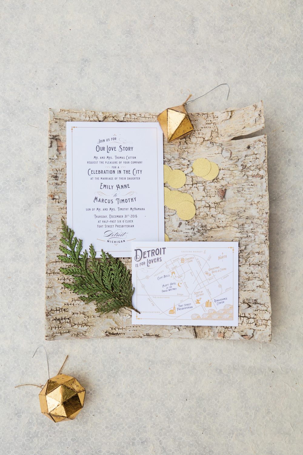 Gold Vintage Wedding Invitation Map Detroit