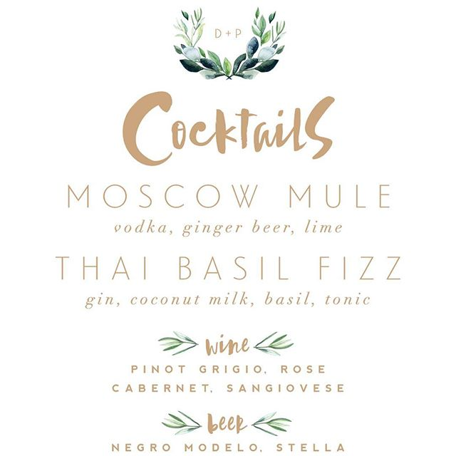 Coordinating bar menu for the Greenery invitation suite #greenerybaw alisabobzien.com/greenery