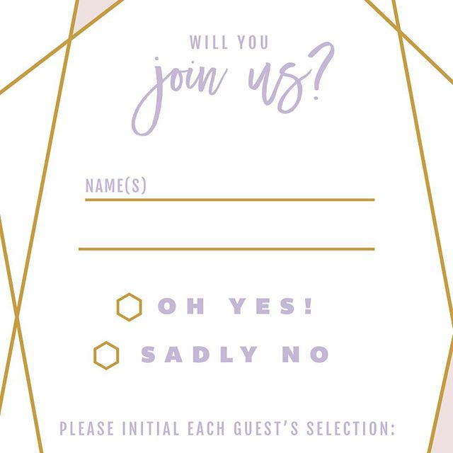 Brushy Geo rsvp card in lavender, blush and gold #brushygeoabw bit.ly/brushygeo
