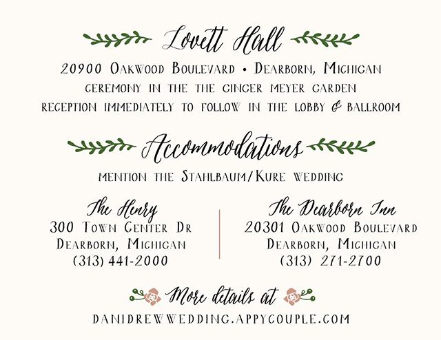 Details card for Dani and Drew's upcoming wedding with @lunasoireeevents. It's going to be dreamy! #bymoonlightabw