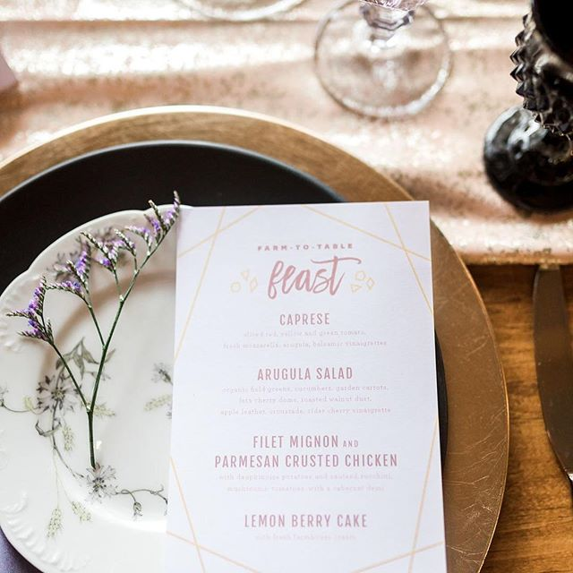 Brushy Geo dinner menus. I'm so hungry right now! . . .⠀ ⠀ Laurenda Marie Photography:  @laurendamariephotography⠀ Forever and A Day Events and Design:  @foreverandadayevent⠀ The Rental Company:  @wmrentalco⠀ Gigi & LaClede Vintage Dish Rentals:  @gigiandlaclede⠀ Krystle Waivio Hair:  @krystlewaiviohair⠀ Wonderfully Made Beauty:  @wonderfullymademakeup⠀ With Love Cupcakes and Cakes:  @withlove.cupcakesandcakes⠀ Stationery:  @alisabobzienwedding⠀ Models:  @elle_bowman and @tseason22⠀ Dress and Accessories:  @alinicolebridal⠀