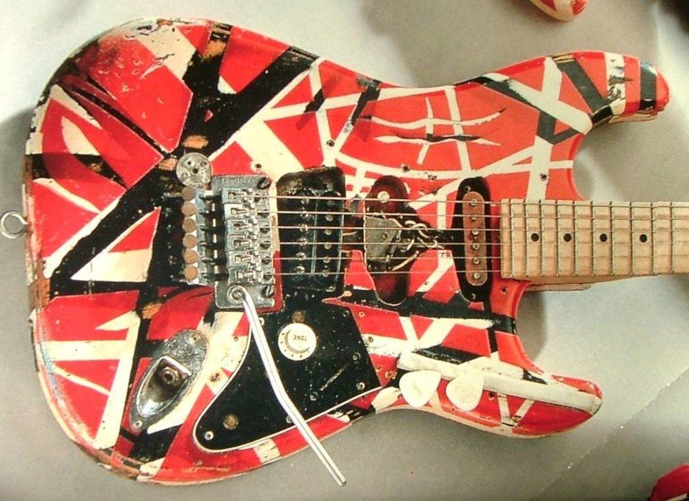 """Perhaps the most famous modified guitar ever: Eddie Van Halen's """"Frankenstein""""."""