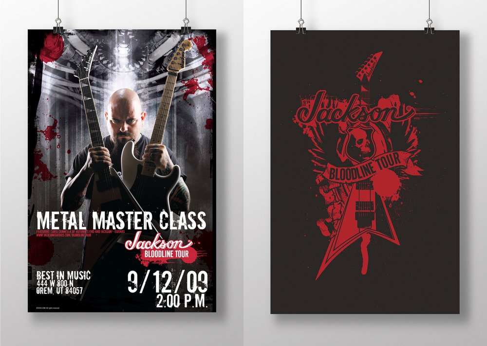 I created gig posters for every event; the illustrated version was repurposed into stickers, shirts and other swag.