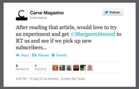 Margaret Atwood tweets Carve 2.png
