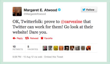 Margaret Atwood tweets Carve 3.png