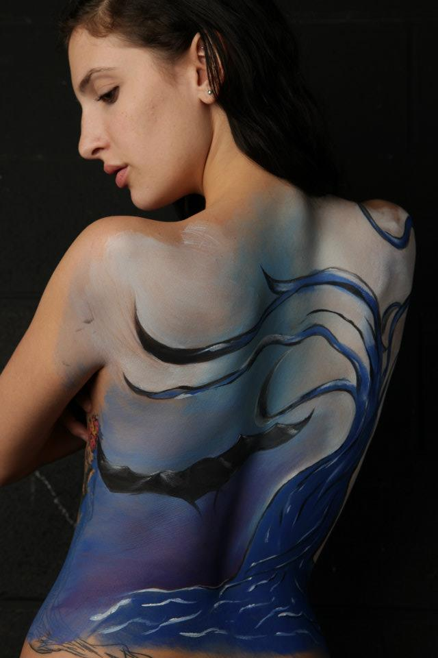 Body painting workshop. Aqua Color makeup.  Photo: Brent LaFever